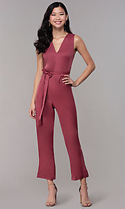 Image of marsala red v-neck cropped wedding-guest jumpsuit. Style: BLU-IBR1616 Detail Image 3