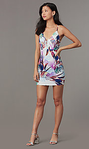 Image of short tight v-neck party dress with print. Style: BLU-BD90049 Front Image