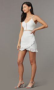 Image of off-white eyelet-lace short graduation party dress. Style: BLU-IBD8858 Front Image