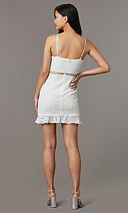 Image of off-white eyelet-lace short graduation party dress. Style: BLU-IBD8858 Back Image