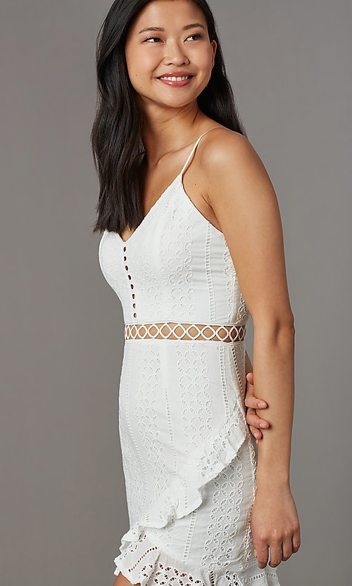 Image of off-white eyelet-lace short graduation party dress. Style: BLU-IBD8858 Detail Image 1