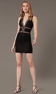 Image of deep-v-neck short lace tight cocktail party dress. Style: BLU-IBD95078 Front Image
