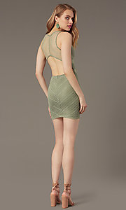 Image of deep-v-neck short lace tight cocktail party dress. Style: BLU-IBD95078 Detail Image 3