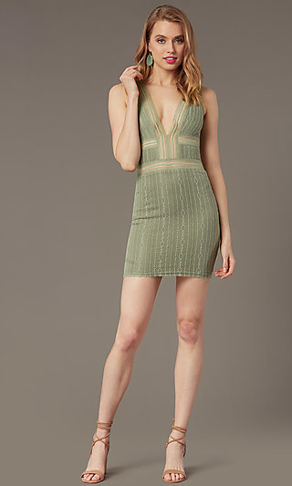 Deep-V-Neck Short Lace Tight Cocktail Party Dress