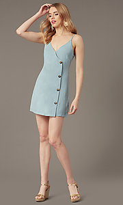 Image of v-neck button-front short casual party dress. Style: BLU-IBD9858 Front Image