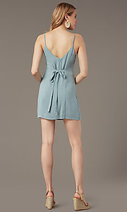 Image of v-neck button-front short casual party dress. Style: BLU-IBD9858 Back Image