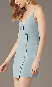 Image of v-neck button-front short casual party dress. Style: BLU-IBD9858 Detail Image 1