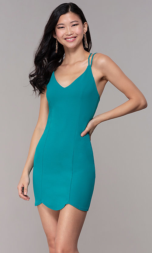 Image of wedding-guest short scalloped-hem party dress. Style: BLU-BD90096 Front Image