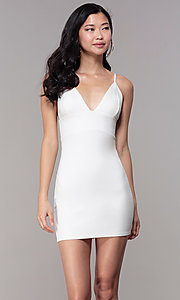Image of v-neck bodycon short ivory graduation party dress. Style: BLU-BD95219 Front Image