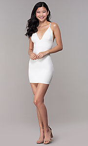 Image of v-neck bodycon short ivory graduation party dress. Style: BLU-BD95219 Detail Image 3
