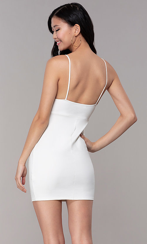 Image of v-neck bodycon short ivory graduation party dress. Style: BLU-BD95219 Back Image
