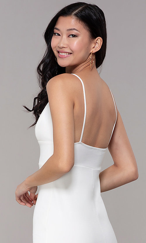 Image of v-neck bodycon short ivory graduation party dress. Style: BLU-BD95219 Detail Image 2