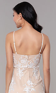 Image of short white graduation party dress with embroidery. Style: BLU-IBD95160 Detail Image 2