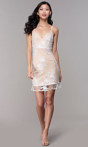 Image of short white graduation party dress with embroidery. Style: BLU-IBD95160 Detail Image 3