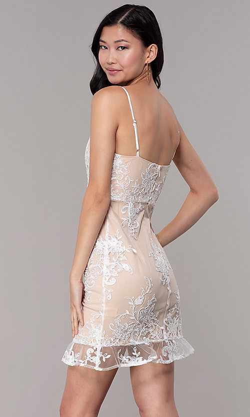 Image of short white graduation party dress with embroidery. Style: BLU-IBD95160 Back Image