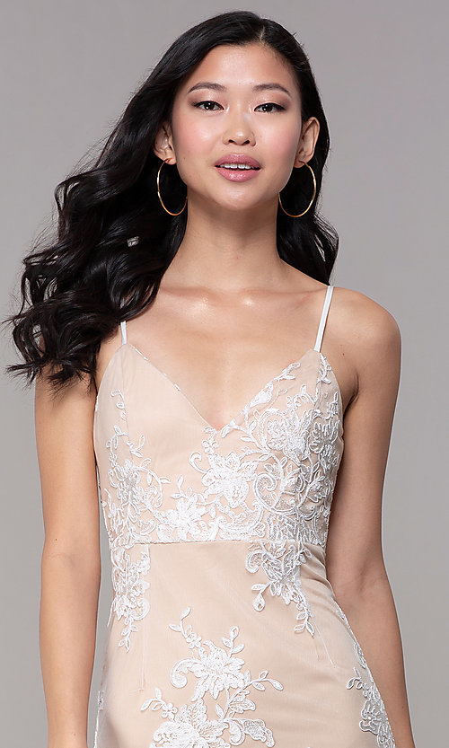 Image of short white graduation party dress with embroidery. Style: BLU-IBD95160 Detail Image 1