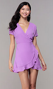 Image of lavender short faux-wrap wedding-guest party dress. Style: BLU-IBD9528-1 Front Image