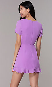 Image of lavender short faux-wrap wedding-guest party dress. Style: BLU-IBD9528-1 Back Image