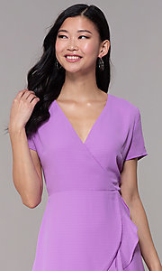 Image of lavender short faux-wrap wedding-guest party dress. Style: BLU-IBD9528-1 Detail Image 1
