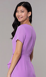 Image of lavender short faux-wrap wedding-guest party dress. Style: BLU-IBD9528-1 Detail Image 2