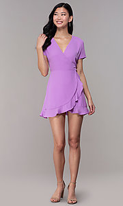 Image of lavender short faux-wrap wedding-guest party dress. Style: BLU-IBD9528-1 Detail Image 3