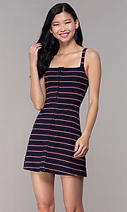 Image of navy striped short casual party dress. Style: BLU-IBD9864 Front Image