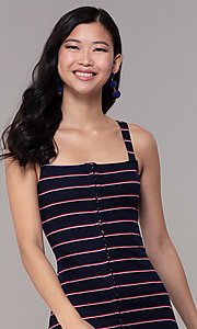 Image of navy striped short casual party dress. Style: BLU-IBD9864 Detail Image 1