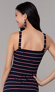 Image of navy striped short casual party dress. Style: BLU-IBD9864 Detail Image 2
