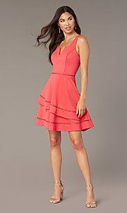 Image of watermelon pink short v-neck wedding-guest dress. Style: CT-7426YK8B Front Image