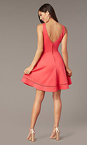 Image of watermelon pink short v-neck wedding-guest dress. Style: CT-7426YK8B Back Image