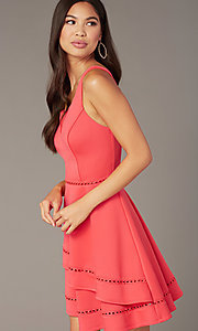 Image of watermelon pink short v-neck wedding-guest dress. Style: CT-7426YK8B Detail Image 1