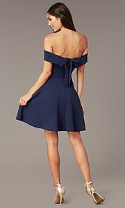 Image of short off-the-shoulder party dress with back bow. Style: CT-7711AT3A Back Image