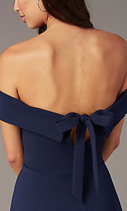 Image of short off-the-shoulder party dress with back bow. Style: CT-7711AT3A Detail Image 1