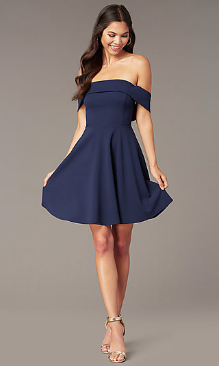 ee0c03b1365 Navy Mauve Red. Short Off-the-Shoulder Party Dress