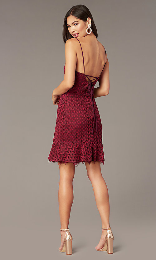 Image of short v-neck lace wedding-guest dress in wine red. Style: CT-6030AN9B Back Image