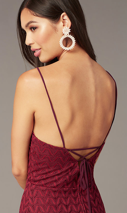 Image of short v-neck lace wedding-guest dress in wine red. Style: CT-6030AN9B Detail Image 2