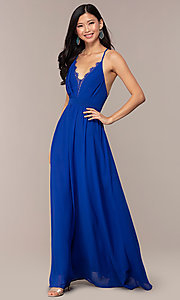 Image of open-back royal blue long chiffon formal dress. Style: AC-DS24481W Front Image