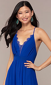 Image of open-back royal blue long chiffon formal dress. Style: AC-DS24481W Detail Image 1