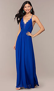 Image of open-back royal blue long chiffon formal dress. Style: AC-DS24481W Detail Image 3
