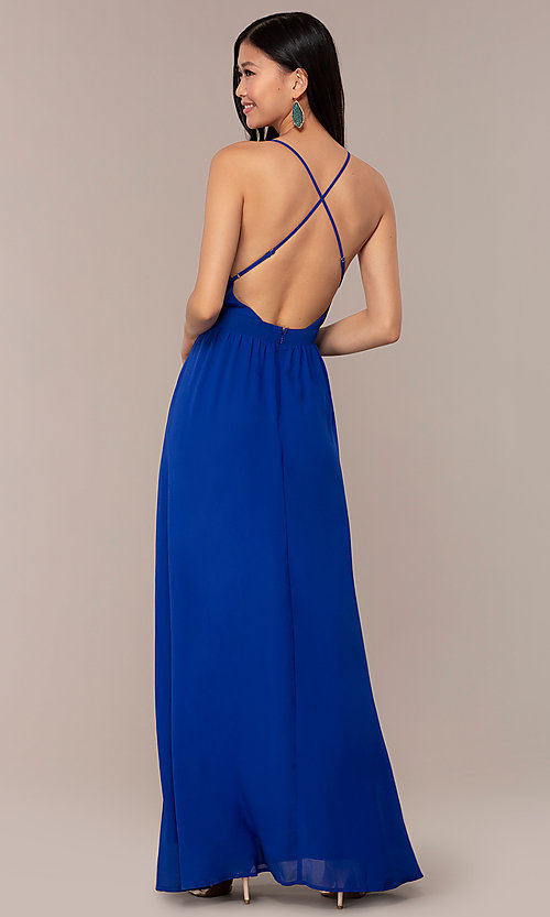 Image of open-back royal blue long chiffon formal dress. Style: AC-DS24481W Back Image