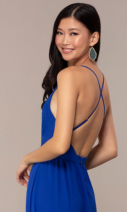 Image of open-back royal blue long chiffon formal dress. Style: AC-DS24481W Detail Image 2