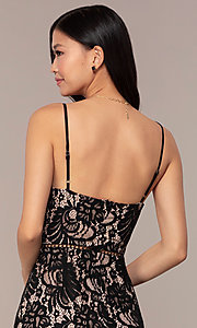 Image of short black lace v-neck party dress with chiffon hem. Style: AC-DS24724W Detail Image 2