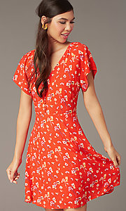 Image of casual short v-neck dress with short sleeves. Style: AC-EDF16064TY Detail Image 1