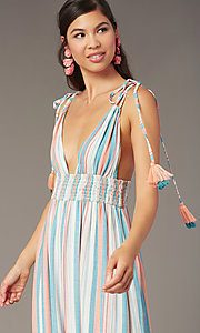 Image of tied-shoulder striped maxi wedding-guest dress. Style: AC-ED16340VY01 Detail Image 1