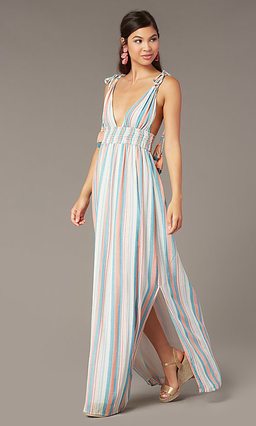 Image of tied-shoulder striped maxi wedding-guest dress. Style: AC-ED16340VY01 Front Image