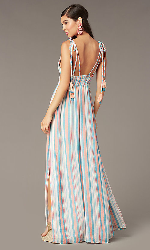 Image of tied-shoulder striped maxi wedding-guest dress. Style: AC-ED16340VY01 Back Image