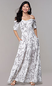 Image of white off-shoulder print maxi-length party dress. Style: FAN-AKD0006 Front Image
