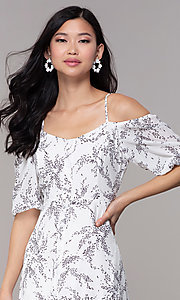 Image of white off-shoulder print maxi-length party dress. Style: FAN-AKD0006 Detail Image 1