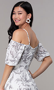 Image of white off-shoulder print maxi-length party dress. Style: FAN-AKD0006 Detail Image 2