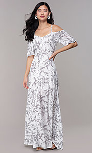 Image of white off-shoulder print maxi-length party dress. Style: FAN-AKD0006 Detail Image 3